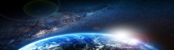 Earth Sunrise and Milky Way Illustration. First Sun Lights. Space Illustrations Collection.